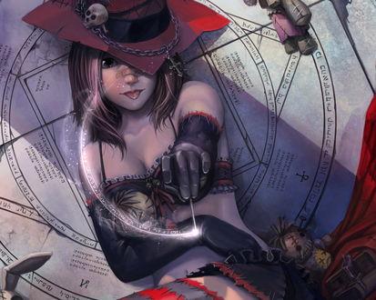 Обои Ведьмачка (Тут все атрибуты колдовства вуду-пентаграмма с заклинаниями, кукла, которую сейчас будут прокалывать иголкой)