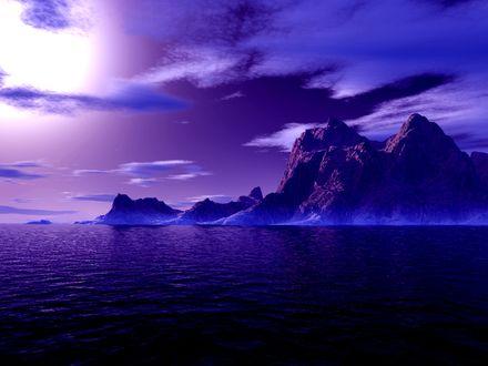 Обои Магическая синяя ночь скалы и облака