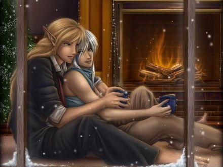 Обои Два эльфа сидят у камина в рождественскую ночь