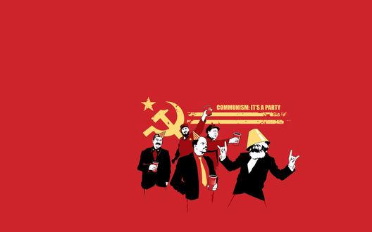 Обои Фидель Кастро, Мао Дзедун, Сталин, Ленин и Карл Маркс на вечеринке (Communism: it's a party)