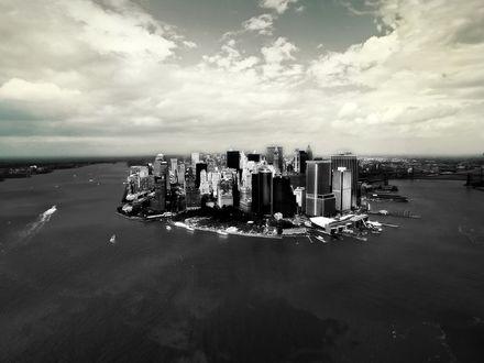 Обои Нью-Йорк. Остров Манхеттен.