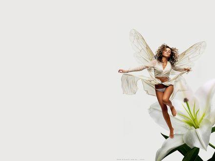 Обои Красивая фея сидит на цветке