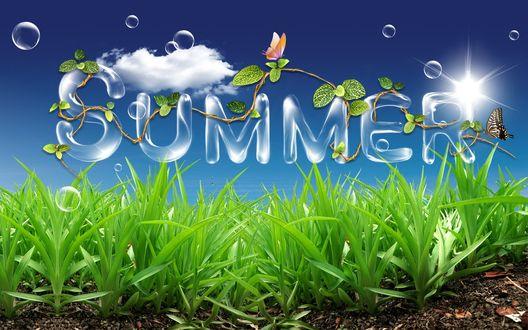 Обои Летний коллаж с бабочками зеленой травкой, облачками и надписью (summer)