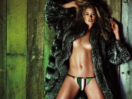Обои Doutzen Kroes в бикини и роскошной шубе на фоне деревянного забора