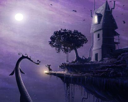 Обои Девочка стоит на краю обрыва перед мрачным замком. Она освещает край обрыва фонарем и следую этому сигналу, из пропасти к ней поднимается исполинское чудовище.