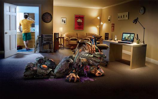 Обои Убитый монстр лежит посреди комнаты с типично холостяцкой обстановкой, а автор удачного выстрела неспешно чистит зубы в ванной комнате