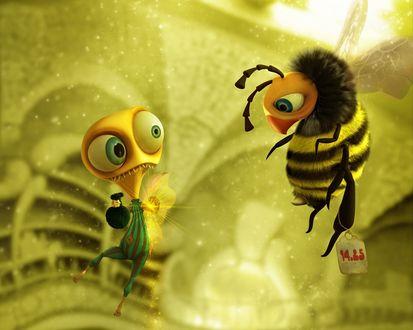 Обои Встреча пришельца с пчелой Маей (№14.25), у которой он выпрашивает дать ему немного мёда