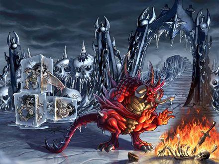 Обои Сказочная ледяная планета, властитель которой жестока расправляется со злобными пришельцами-коих в лед заковал, коих в огонь покидал...