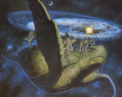 Обои Плоский мир терри пратчетта-черепаха, на ней слоны, на слонах-плоская Земля, на неё сверху светят Солнце и Луна