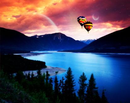 Обои Над горным озером в небе плывут красивые воздушные шары