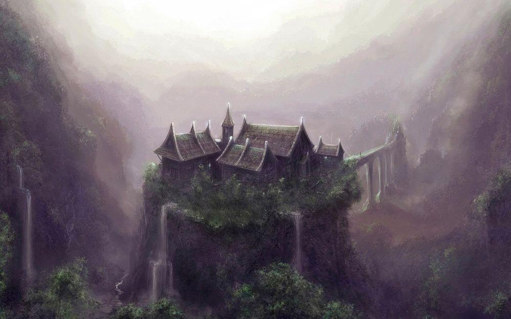 Обои для рабочего стола В горном ущелье расположилась деревня волшебников, к ней ведёт заколдованная дорога, по которой в жилища магов может попасть только приглашённый гость..