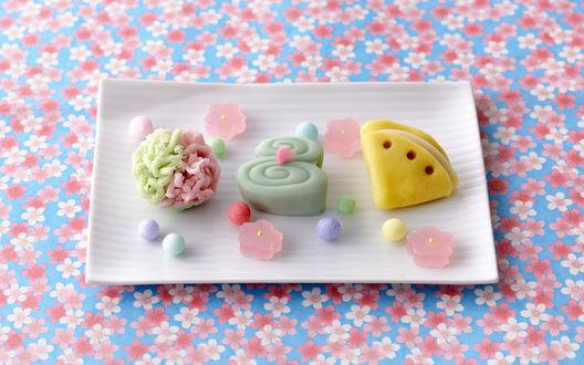 Обои Vagashi / вагаси, традиционные японские сладости на прямоугольной тарелке