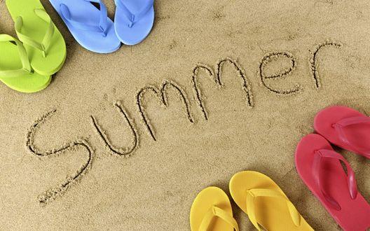 Обои Summer лето, песок, пляжные сланцы