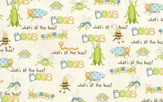 Обои Нарисованные букашки, кузнечик, божья коровка, пчелка, комар, червячок, паук, BUGS what's all the buzz?