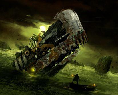 Обои У скалистого берега виден корабль странной формы, налетевший на подводные рифы. Около него лодка, в ней мужчина с фонарём, который пытается разобраться в том, что перед ним