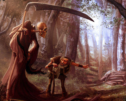 Обои Горбатый дровосек посылает Смерть куда подальше