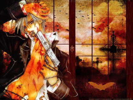 Обои Zero приставил большой пистолет с надписью Crossing bloody rose, к голове