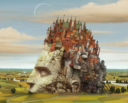 Обои Новый Вавилон (городок, в котором смешаны всё архитектурные стили, расположился на горе в форме человеческой головы