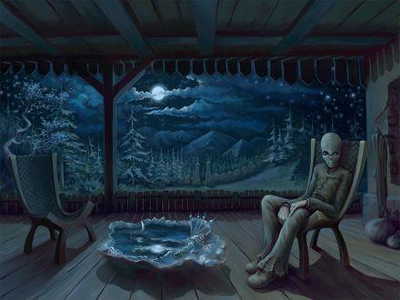 Обои Тоска (пришелец  сидит в кресле, его окружает вполне земной интерьер, за исключением большой раковины, в которой плывёт парусник. За забором лес с ёлками, светит луна, но глаза пришельца, наполненные слезами, видят другой мир.)