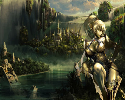 Обои Красивая эльфийка, за ней сказочный город и шумящий водопад