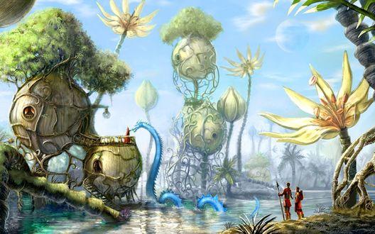 Обои Фантастический пейзаж (Под неправдоподобно большими растениями у берега реки стоит семейная пара с ребёнком, вдали странный дом, на крыше которого жрец  подзывает к себе голубого дракона. Всё чем-то напоминает Пандорру)