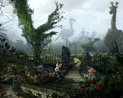 Обои Алиса в сказочной стране с Кроликом, вокруг цветы