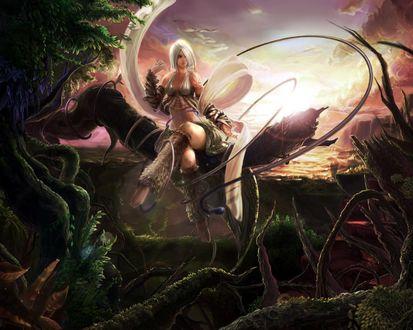 Обои Красивая девушка в заколдованном лесу