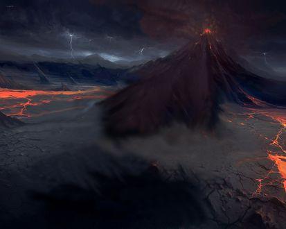 Обои Вулкан проснулся (Исландия) Потоки лавы спускаются вниз с огромной скоростью, в небо поднимается облако вулканического пепла..