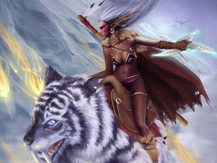 Обои Эльфийка на саблезубом тигре