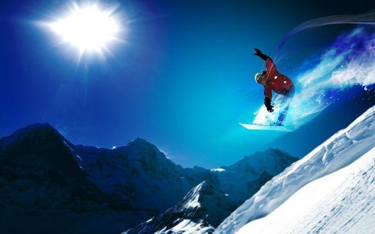 Обои Прыжок на сноуборде