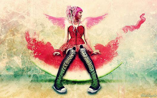 Обои Эмо девушка с розовыми волосами сидит на арбузе
