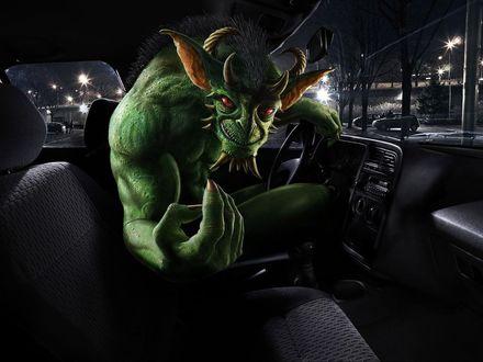 Обои Дьявол в роли таксиста попрашайничает на чай