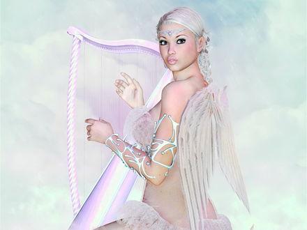 Обои Ангел играет на белой арфе