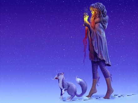 Обои Девочка со свечей идет по снегу босиком в сильный снегопад, рядом с ней бежит существо похожее на кошку лису белку и собаку одновременно