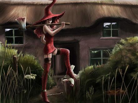 Обои Рыжеволосая ведьма с топором