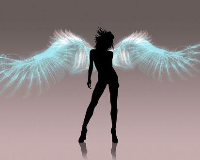 Обои Тень ангела с неоновыми крыльями