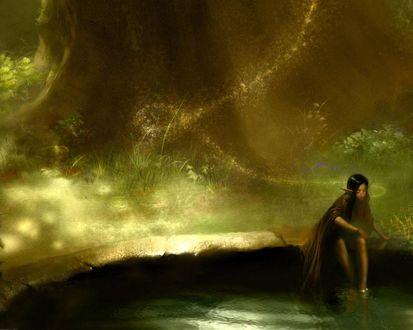 Обои Грустно бедной эльфийке ночью в лесу, вот взайдёт Солнышко, всё вокруг окрасится волшебным светом, проснутся птицы и зальются трелями, из нор потянется мелкое зверьё, всё оживёт и грусть спадёт..