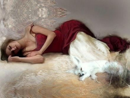 Обои Девушка с собачкой видят сны