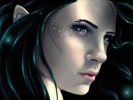 Обои Эльфийка с изумрудными глазами