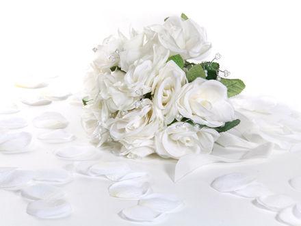 Обои Букет белых роз окруженный лепестками