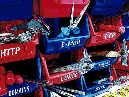 Обои Ящики с компьютерными инструментами (HTTP, E-Mail, FTP, domains, linux, folder, sQl)