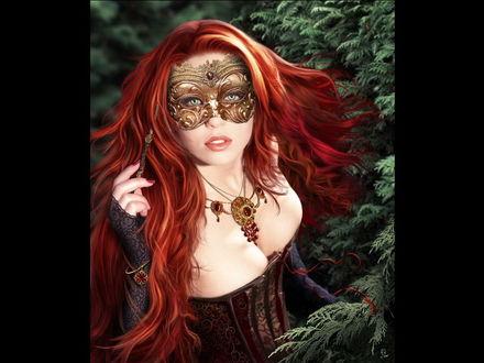 Обои Рыжеволосая девушка в маске