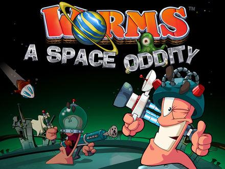 Обои Worms (червячки) a space oddity, игра про червячков
