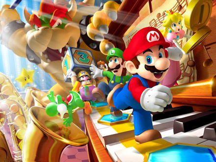 Обои Марио, битва в царстве игрушек, кубики, пианино, монстр