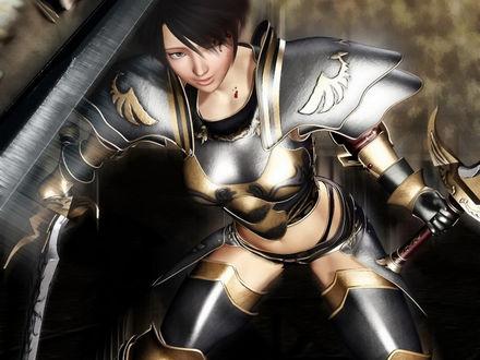 Обои Девушка воин машет мечом