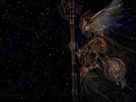 Обои тень девушки воина на ночном небе