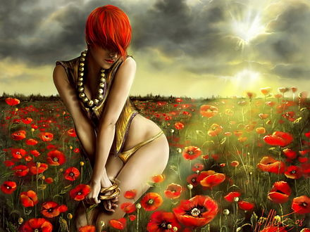 Обои Рыжеволосая девушка посреди макового поля