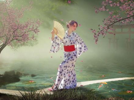Обои Девушка в кимоно обмахивает себя веером
