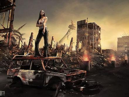 Обои Девушка с игаретой на крыше ржавой машины, руины Нью-Йорка