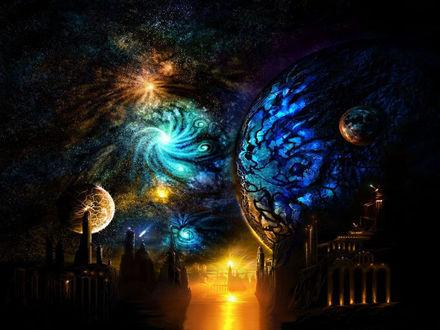 Обои Древний город на неизвестной планете, видно планеты, космос и галактики